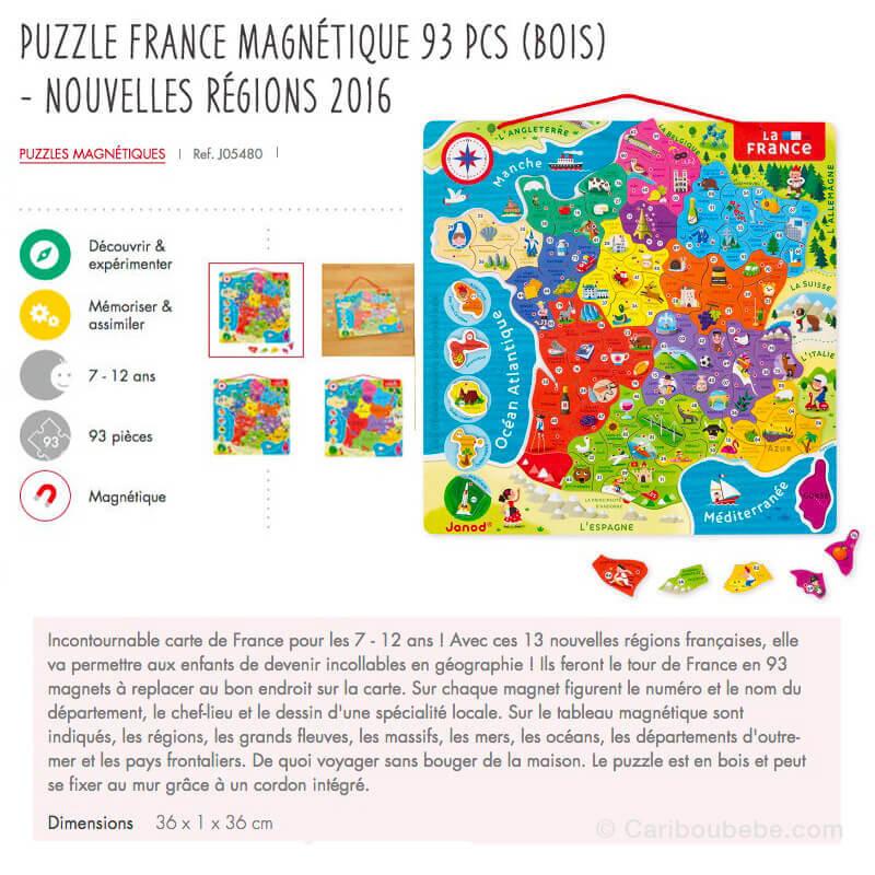 Puzzle France Magnétique 93Pcs en Bois 7-12A Hape