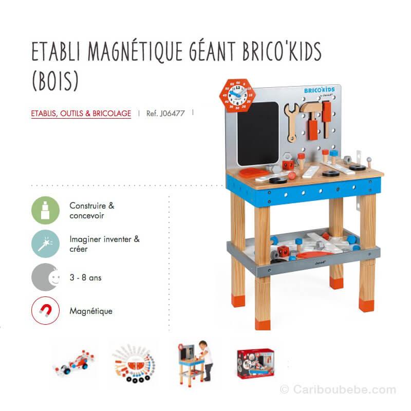 Établi Magnétique Géant Brico'Kids en Bois 3-8A Janod