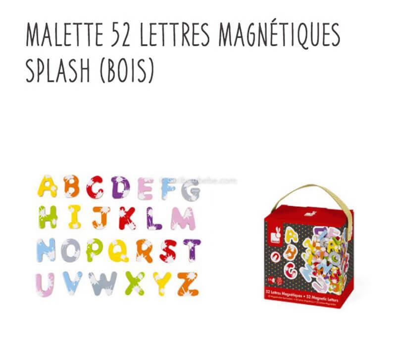 Mallette 52 Lettres Magnétiques Splash en Bois 3-8A Janod
