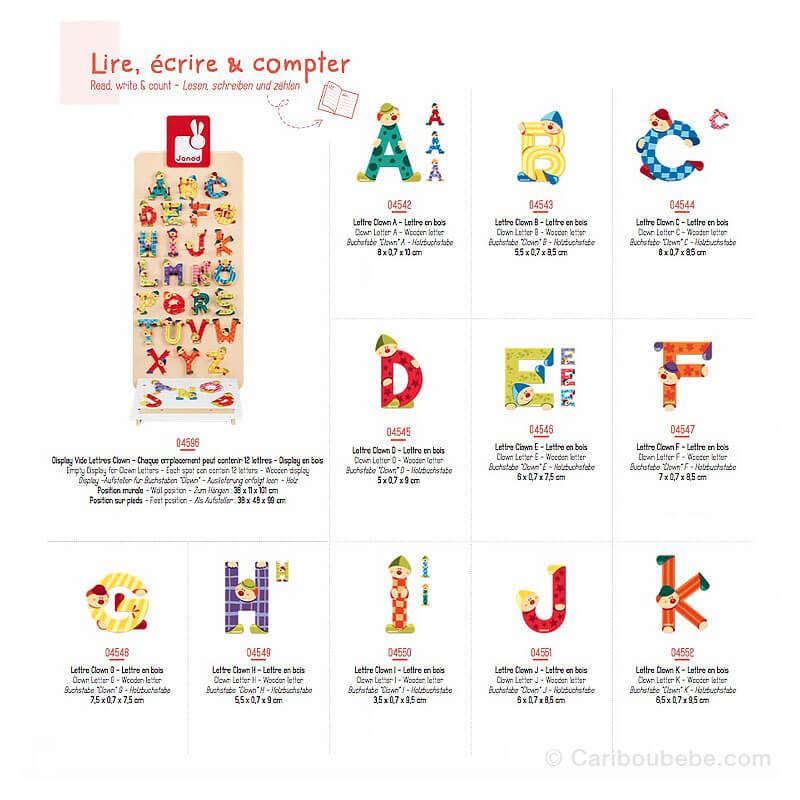 Lettres Clown A à K 3-6A Janod