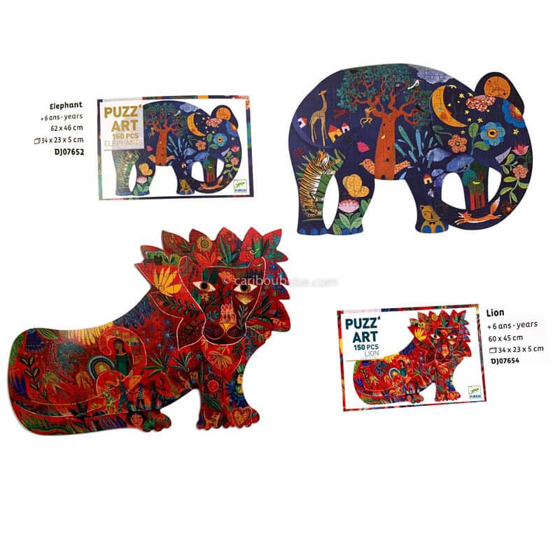 Puzzles Art 150pcs Lion ou Éléphant +6A Djeco