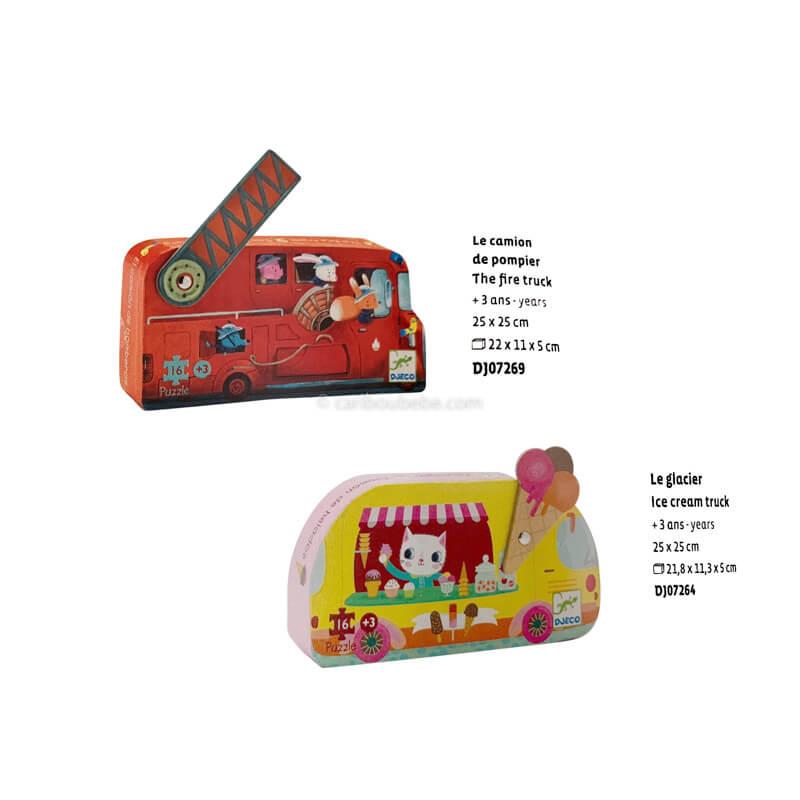 Puzzles Camion de Pompier ou Camion de Glacier +3A Djeco