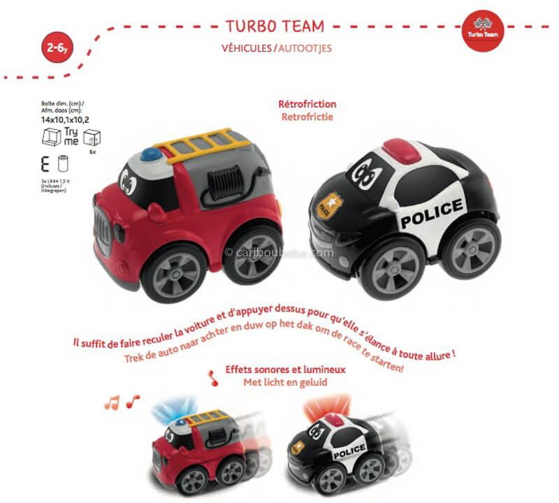 Voiture Mini Worker Police Pompier 2-6A Chicco